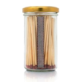 Extra Long Candle Matches Jar | Gold Lid