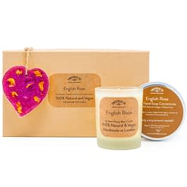 English Rose Scented Ornament Candle and hand soap Gift Set pink by twoodle co natural home scents