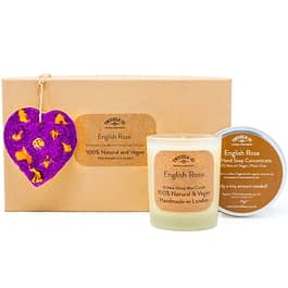 English Rose Scented Ornament Candle and hand soap Gift Set purple by twoodle co natural home scents