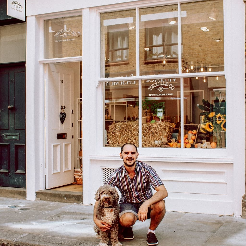 Tim and Henry outside the Shoreditch Store Summer 2020 Twoodle Co Natural Home Scents