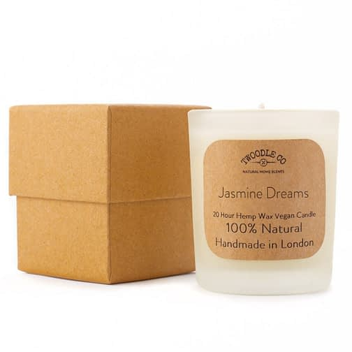 Jasmine Dreams 100 Natural Scented Candle Essential Oil Hemp Seed Wax Small and gift box by Twoodle Co Natural Home Scents