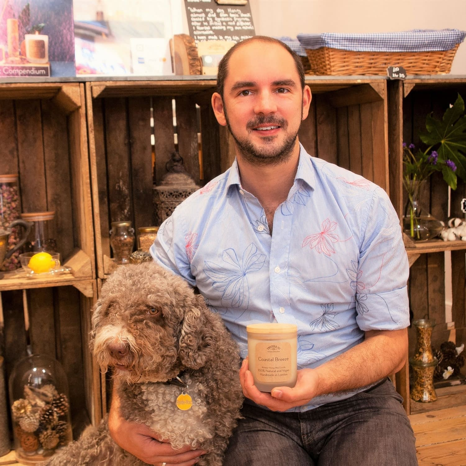 Tim and Henry inside the Shoreditch Store Twoodle Co Natural Home Scents