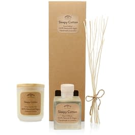 Sleepy Cotton Room diffuser and Medium candle Gift set by twoodle co natural home scents