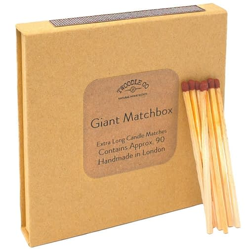 Giant Match Box Extra Long Candle Matches (side view) certified vegan and cruelty free Twoodle Co Natural Home Scents