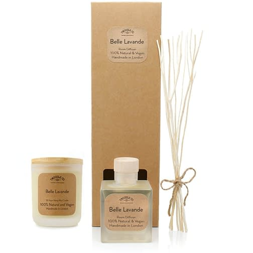 Belle Lavande Room diffuser and Medium candle Gift set by twoodle co natural home scents