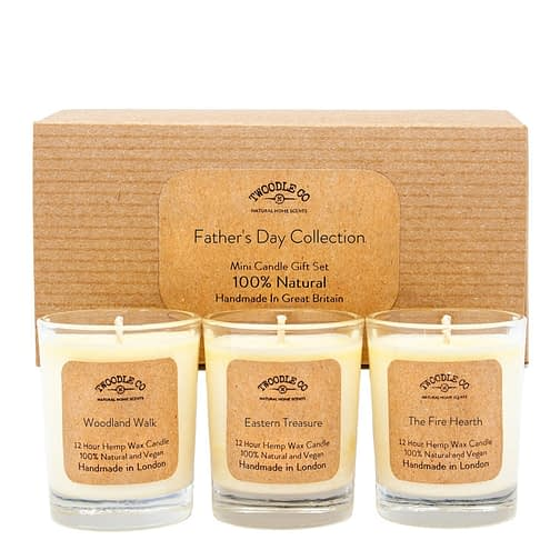 Fathers Day Collection Mini triple candle Gift Set by twoodle co natural home scents