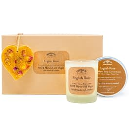 English Rose Scented Ornament Candle and hand soap Gift Set gold by twoodle co natural home scents