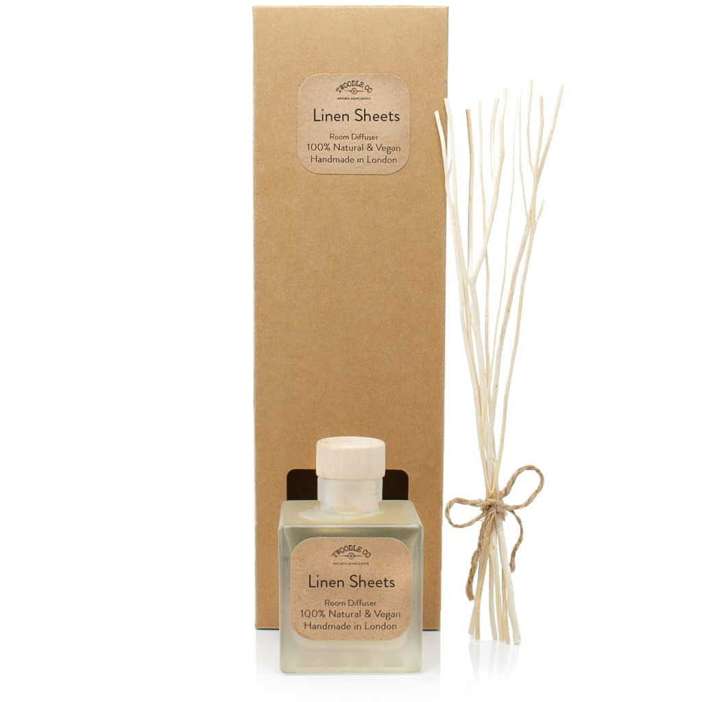 Linen Sheets Plastic Free Natural Room Diffuser and gift box by Twoodle Co Natural Home Scents