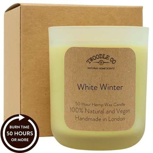 White Winter natural 50 hour scented candle medium Twoodle Co Natural Home Scents