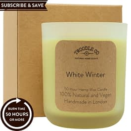 White Winter Subscribe and Save natural 50 hour scented candle medium Twoodle Co Natural Home Scents