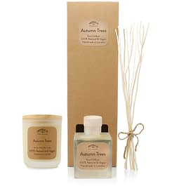 Autumn Trees Room diffuser and Medium candle Gift set by twoodle co natural home scents