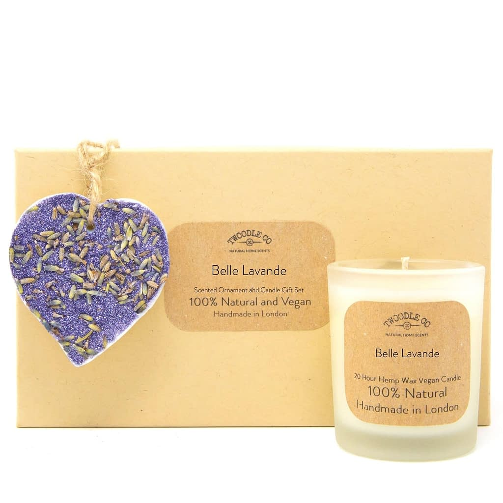 Belle Lavande Scented Ornament and Candle Gift Set by twoodle co natural home scents