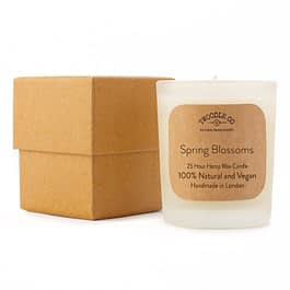 Spring Blossoms Small 25 Hour Scented Hemp Wax Candle by Twoodle Co Natural Home Scents