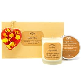 English Rose Scented Ornament Candle and hand soap Gift Set red BioGlitter by twoodle co natural home scents