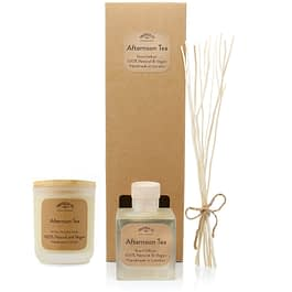 Afternoon Tea room diffuser and Medium candle Gift set by twoodle co natural home scents
