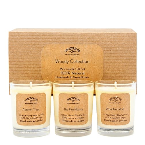 Woody Collection Mini triple candle Gift Set by twoodle co natural home scents