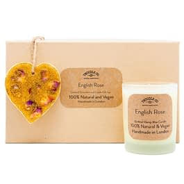 English Rose | Scented Ornament and Candle Gift Set | Gold