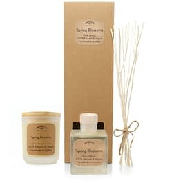 Spring Blossoms Room diffuser and Medium candle Gift set by Twoodle Co Natural Home Scents