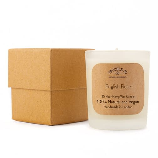 English Rose Small Scented Hemp Wax Christmas candle by Twoodle Co Natural Home Scents