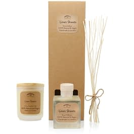 Linen Sheets Room diffuser and Medium candle Gift set by twoodle co natural home scents