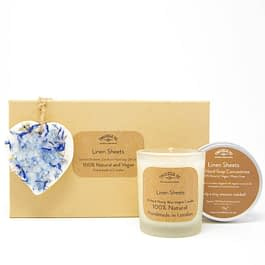 Linen Sheets Scented Ornament Candle and Hand Soap Gift Set by twoodle co natural home scents