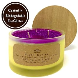 Night Divine Three wick scented candle coated in biodegradable Eco Glitter by Twoodle Co Natural Home Scents