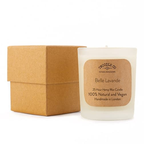 Belle Lavande Small Scented Hemp Wax Christmas candle by Twoodle Co Natural Home Scents