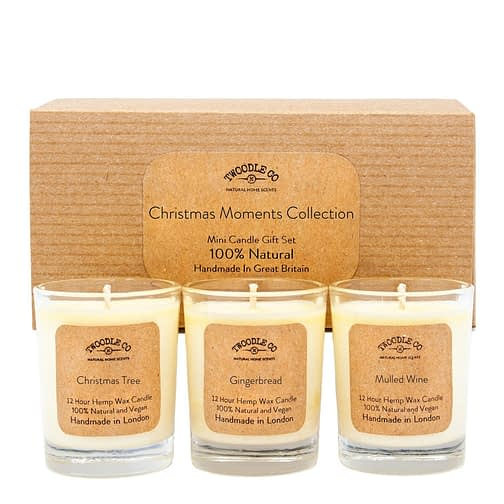 Christmas Moments Collection Mini triple candle Gift Set by twoodle co natural home scents1