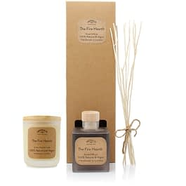 The Fire Hearth Room diffuser and Medium candle Gift set by twoodle co natural home scents